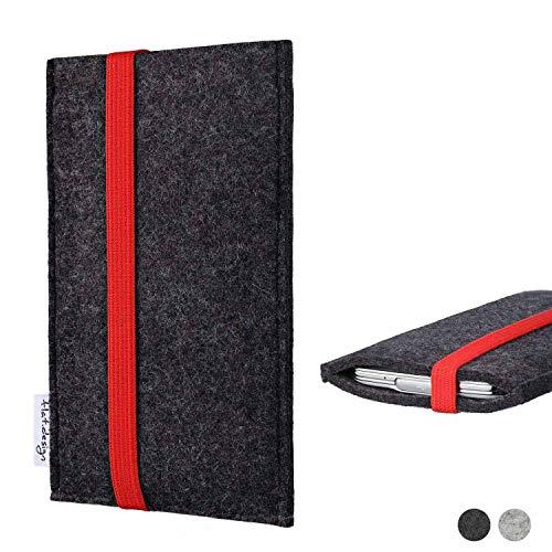 flat.design Handy Tasche Coimbra kompatibel mit Shift Shift6m passexakt Filz Schutz Hülle Hülle anthrazit rot fair