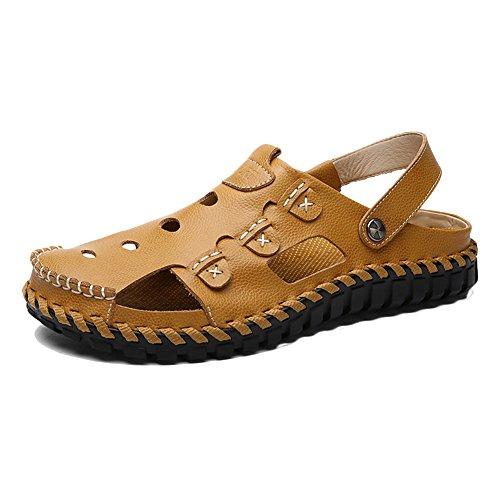 Hombres Sandalias Senderismo Zapatillas Deportivas Casuales Pescador Cuero Playa Zapatos Respirable Sandalia Amarillo 43 EU