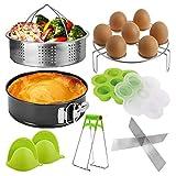 Pressure Cooker Accessories Set, Compatible with Instant Pot 5,6,8 QT Steamer Basket,Egg Rack, Springform Pan,Egg Bites Mold,Steamer Basket Inserts,1Pair Silicone Mitts/8pcs