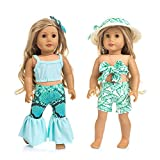 ZITA ELEMENT 2 Sets American Doll Hawaiian Beach Clothes and Hair Accessories for 18 Inch Girl Doll Swimsuit Outfits - 2 Swimwear Clothes with 1 Hair Clip and 1 Straw Hat for 18 Inch Girl Dolls