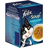 PURINA FELIX Soup Gatto Selezioni Pesce con Merluzzo, con Tonno, con Platessa - 48 buste da 48g ciascuna (8 confezioni da 6x48g)