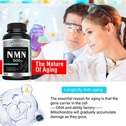 51A0LuLLD3L - NMN Supplement, 500mg Nicotinamide Mononucleotide Per Serving Powerful NAD+ Precursor Naturally Boost NAD+ Levels Supplement for Anti-Aging Energy Metabolism Vegan Friendly 60 Capsules