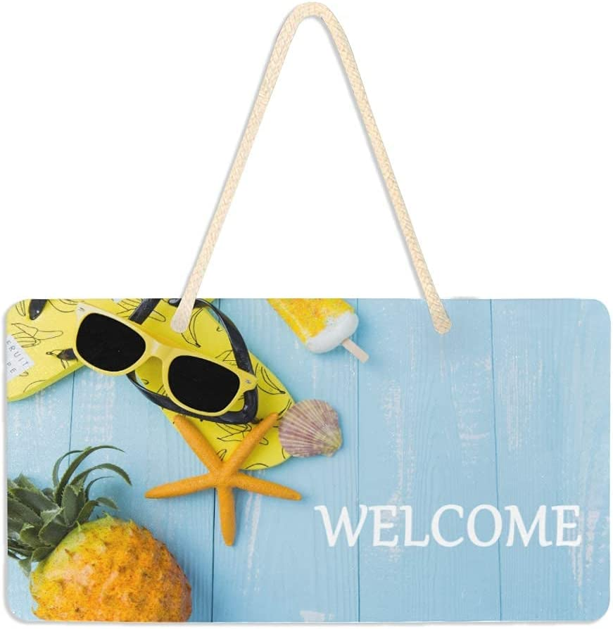 Wood Signs Max 75% OFF Special price for a limited time Home Decor Wall Hanging Hello Starfish Pineapple
