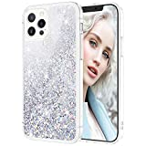 Maxdara Compatible with iPhone 12 Pro Glitter Case for Girls Women Shiny Bling Sparkle Luxury Pretty Case Soft TPU Protective Phone Case (6.1 inches), Silver