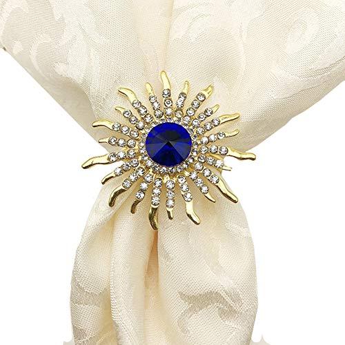N\C Ototon - Lote de 6 servilletas redondas de aleación, estrás, anillos de ondas, dorados, flor de servilletas, anillo de mesa, decoración de moda, accesorio para bodas, fiestas, restaurantes