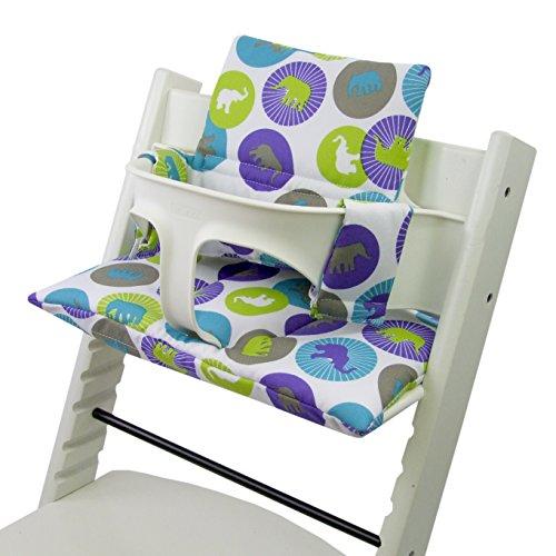 Babys-Dreams Sitzkissen Auflage Sitzkissenset für Stokke Tripp Trapp Hochstuhl *20 FARBEN* Ersatzkissen Kissen 2 teilig (Grüne Elefanten) XX