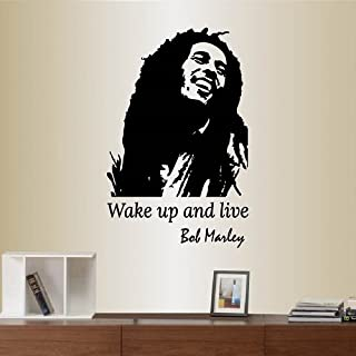 In-Style Decals Wall Vinyl Decal Home Decor Art Sticker Wake Up and Live Quote Bob Marley Reggae Singer Celebrity Musician Bedroon Living Room Removable Stylish Mural Unique Design 2268