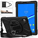 TSQQST Lenovo Tab M10 Plus Case 2020 2nd Gen | Lenovo M10 Plus Heavy Duty Shockproof Rugged Protective Case w/Stand Handle Shoulder Strap for TB-X606F / TB-X606X 10.3