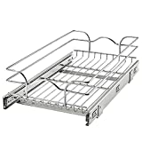 Rev-A-Shelf 5WB1-1222CR-1 12 Inch x 22 Inch Single Wire Basket Sliding Pull Out Shelf Storage Fully Assembled Durable Organizer for Kitchen Base Cabinets, Silver