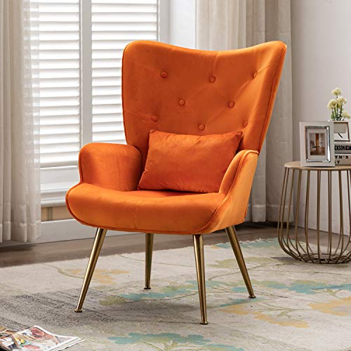 Artechworks Velvet Accent Dinning Chair High Wingback Arm Chairs with Golden Legs & Pillow for Living Dining Room Bedroom Reception Chair, Orange
