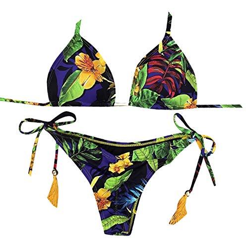 YANFANG Ropa de baño de Mujeres Bandeau Bandage Bikini Set Push-Up con Estampado Traje de baño brasileño Ropa de Playa Traje de baño