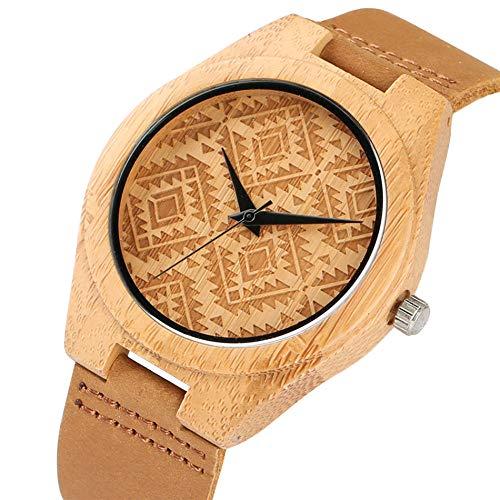 LCDIEB Reloj de bambú de Cuarzo con Pantalla de patrón de rombo Vintage, Reloj de Pulsera de Cuero Genuino para Hombres y Mujeres, Reloj de Madera con Estilo Natural