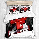 KOSALAER Parure de lit avec housse de couette en microfibre,Voiture de Formule avec le thème Automobile Sport...