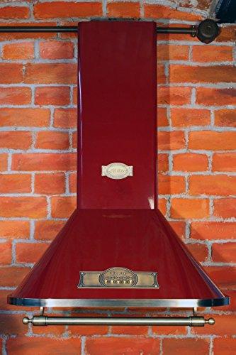 Kaiser Empire Exklusive Designer Dunstabzugshaube 90cm /Wandhaube Kaminhaube Bordeaux – Empire/Griff – Bronze/Abzugshaube / 910m³/h/Esse mit antikem Flair/Inkl.Aktivkohlefilter/Abluft Umluft/