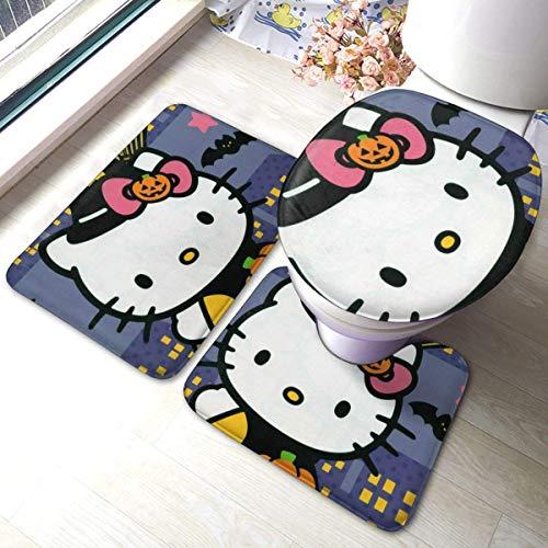 milkcolor Anime Hello Kitty Badmatte 3-teiliges Set, Badezimmer U-förmige Konturmatte/Bodenmatte/Toilettenbezug Bad Teppichbezug, weiche rutschfeste Matten Teppich Badmatte Bezug