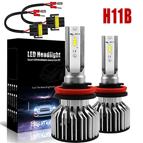 H11B LED Headlight Bulb, 60W 7600LM 6000K Cool White H11B H9B Conversion Restoration Kit Bulbs with H11B Extension Cable