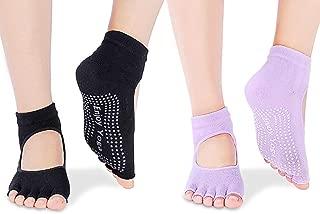 AVEDISTANTE Calcetines para Yoga Pilates de Algodóne Invisibles Antideslizantes Talla Universal (2 Piezas)