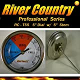 River Country 5' (RC-T5L) Adjustable BBQ Grill Thermometer 50 to 550 F (Long Stem)