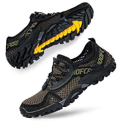 SOBASO Water Shoes Men Quick Dry Women Barefoot Aqua Water Shoes for Beach Lake Pool River Army Green