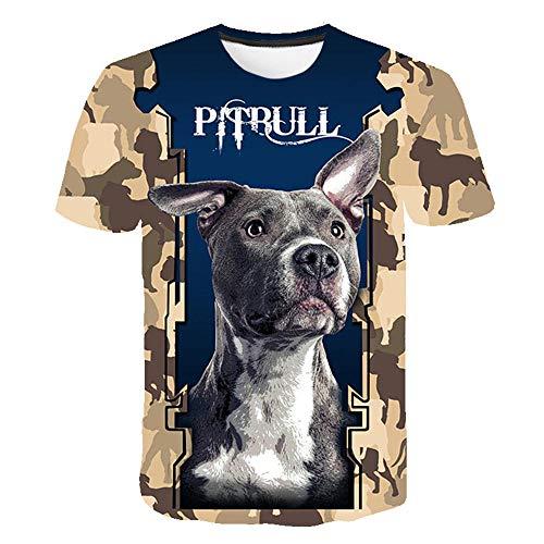 T-Shirt 3D Creativo Camiseta para Hombre,Pitbull Suave Suelto Verano tee Shirt Ocio Manga Corta para Bar Carnival Beach Party,6XL