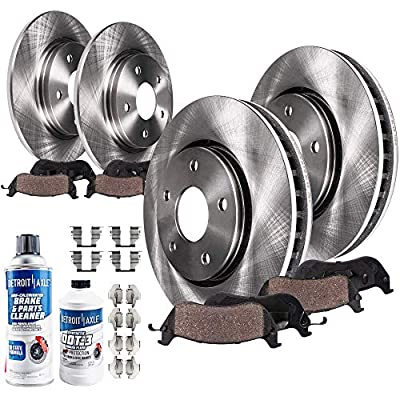 Detroit Axle - 296mm Front and 270mm Rear Disc Brake Kit Rotors w/Ceramic Pads w/Hardware & Brake Kit Cleaner & Fluid for 2005-2007 Chevy Cobalt - [08-10 HHR] - 04-06 Malibu - [05-06 Pontiac G5]