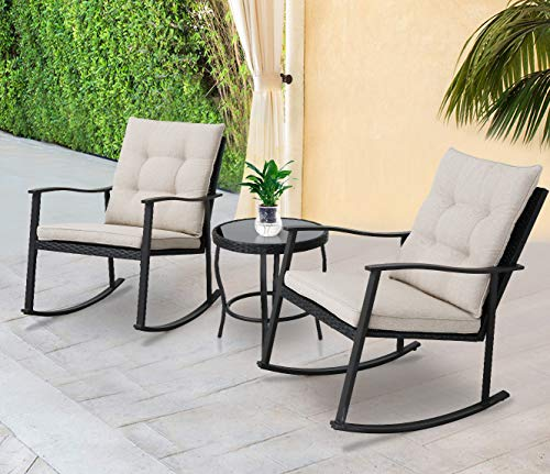 SOLAURA Outdoor Patio Furniture 3-Piece Rocking High-Back Chairs Bistro Set Black Wicker with Beige Cushions - Two Chairs with Glass Coffee Table