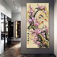 モダンキャンバス絵画花の壁アートシンプルな梅の花のプリントリビングルームの家の装飾のための印刷画像-50x100cmフレームなし