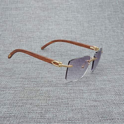 Secuos Moda Gafas De Sol De Madera Natural para Hombre, Gafas De Sol De Cuerno De Búfalo Blanco Y Negro, Accesorios De Anteojos Cuadrados Sin Montura Vintage, Marco Plateado