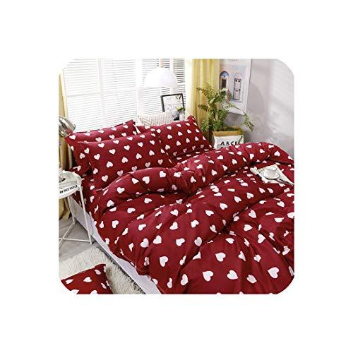 ZMHVOL 4 unids/Set Red Lleno de la impresión del Amor Conjunto de Ropa de Cama Revestimientos de Cama Funda nórdica Hoja de Cama Hoja de Almohadas WANGHN (Color : 5, Size : For2.2mwidthbed)