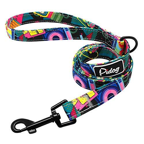 Dzwyc Nylon Perro Caminando Correa Impresa Perros Collar de Perro Correa para Perrito pequeño Perros Medio Chihuahua bulldoag francés Pitbull (Color : Leash 1, tamaño : Large)