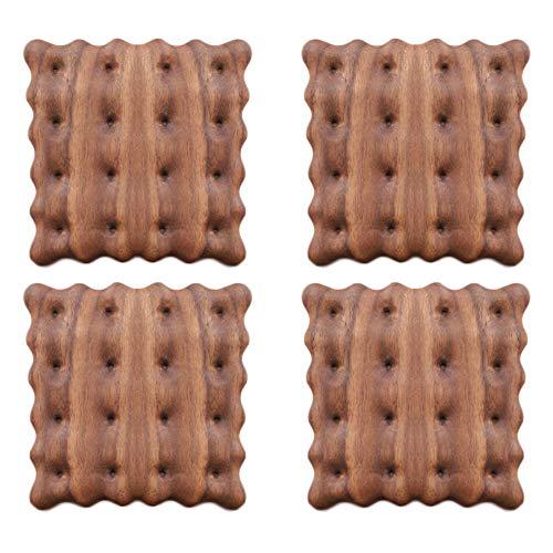 コースター 木製コースター 茶托 滑り止め 茶パッド 耐熱 防水 断熱パッド 瓶敷 鍋敷き クッキー (4個セット, クルミ)