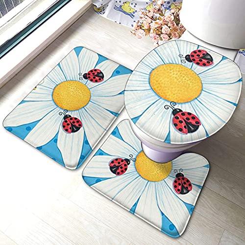 Juego de alfombras de baño de 3 piezas de bienvenida con diseño de margaritas impresas, suaves absorbentes, antideslizantes, alfombrilla de baño con tapa para inodoro