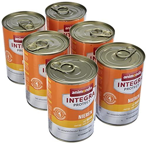 Nourriture de régime pour chien Integra Protect d'animonda, nourriture humide en cas d'insuffisance rénale chronique, au poulet, 6 x 400 g