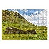 1000 piezas de estatuas de Moai en el volcán Rano Raraku en la isla de Pascua, Chile, rompecabezas de piezas grandes para adultos, juguete educativo para niños, juegos creativos, entretenimiento, romp