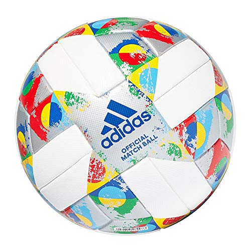 adidas Jungen UEFA OMB NL Log Turnierbälle für Fußball, White/Silver met./Multicolor, 5