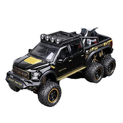 1:28 para Ford Raptor F150, Modelo De Coche Fundido A Presión De Aleación De Rueda Grande con Luz De Sonido, Juguetes De Coche para Niños, Colección (Color : Yellow)