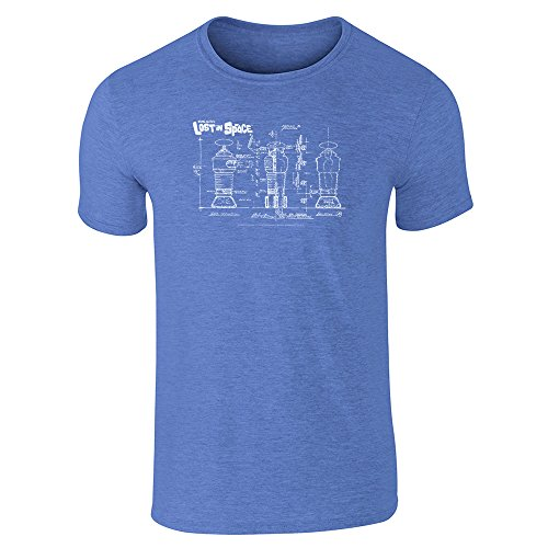 Lost in Space Robot Blueprint B9 Retro SciFi TV Heather Royal Blue L Graphic Tee T-Shirt for Men