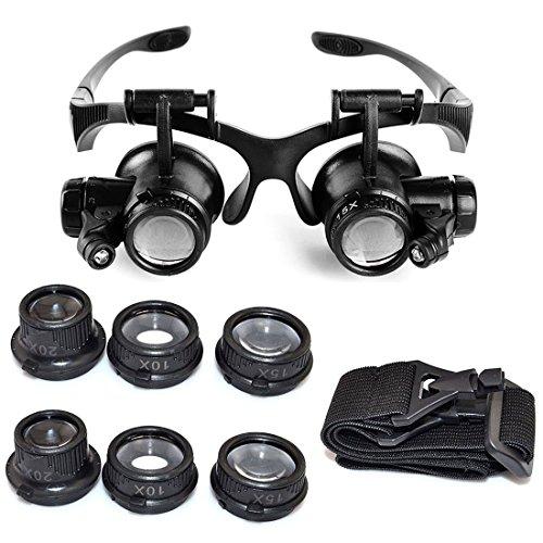 Vigorea Starcrafter 10X 15X 20X 25X Facher Vergrößerung, Verstellbarem LED Licht Lupe für Juweliere Uhrmacher + 1 Starcrafter Geschenk