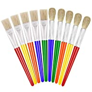 Paint Brushes for Kids, Anezus 10 Big Paint Brushes Round and Flat Hog Bristle Paint Brushes for Washable Paint Acrylic Paint