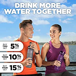 Cactaki Water Bottle with Time Marker, Large BPA Free Water Bottle, Non-Toxic, 1 Liter 32 Oz, for Fitness and Outdoor Enthusiasts, Leakproof, Durable