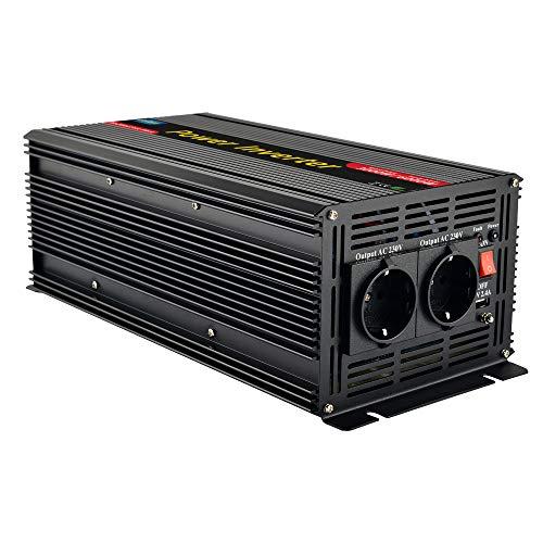 EnRise 3000W Spitzenwert 6000W Modifizierter Sinuswelle Spannungswandler Wechselrichter DC 12V auf AC 230V mit 2.4A USB Anschlüsse