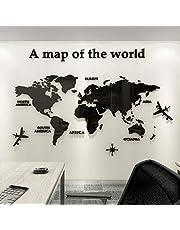 3D Acrílico DIY Mapa del Mundo Mundi De la Pared Murales Etiquetas Etiqueta Sala Salón Oficina Fondo Pegatinas Creativa Decoración Decor De la Pared Murales Mapa del Mundo Mundi