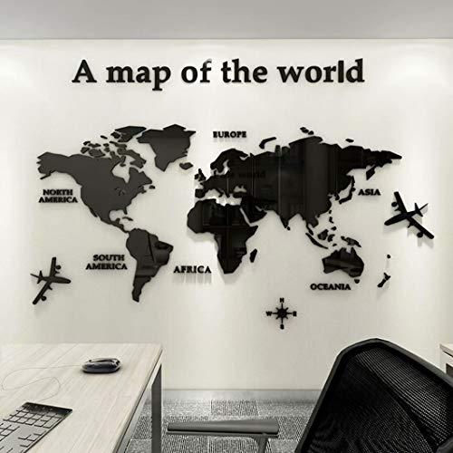 3D Acrílico DIY Mapa del Mundo Mundi De la Pared Murales Etiquetas Etiqueta Sala Salón Oficina Fondo Pegatinas Creativa Decoración Decor De la Pared Murales Mapa del Mundo Mundi 80*40cm
