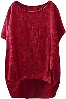 OVERMAL_Tops 2019 Summer Women Lady Linen Solid T-Shirt Casual Plain Loose Blouse Shirt Asymmetrical Tops