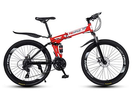 MOOLUNS Bicicleta de Montaña,Plegable 26 Pulgadas Bicicletas de Acero Al Carbono,Doble Choque Velocidad Variable,40 Ruedas de Radios de Cuchilla,Altura Apropiada el 160-185cm,Rojo,26 in (27 Speed)