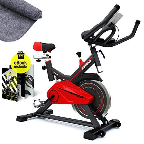 Sportstech SX100 Bicicleta Indoor; Volante de inercia 13kg; reposabrazos Acolchados, Asiento cómodo, pulsometro, Sistema de transmisión por Correa y Motor silencioso - con Kinomap & eBook Gratis