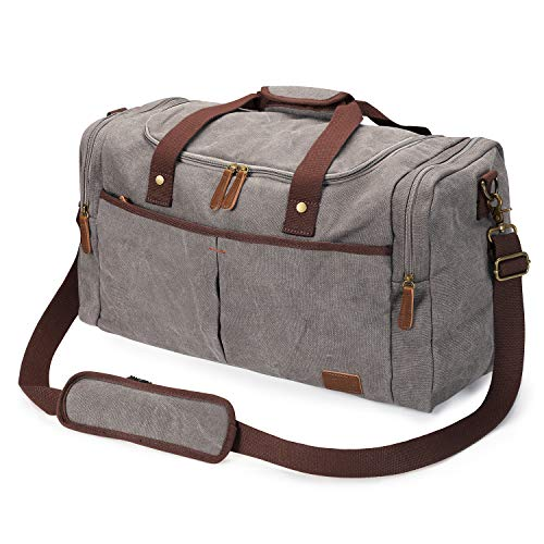 S-ZONE Large Canvas Duffel Bag Travel Weekend Overnight Bag with Shoes...