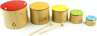 Kids Musical Instruments Wooden Toys Xylophone Drum, 5 pcs Educational Nesting and Stackable Bamboo Xylophone Drums Toy fo...