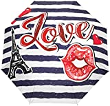 AOTISO Vintage Stripe Lip Eiffelturm Tragbar Winddicht Regenschutz Sonnenschutz 3 Falten Auto Open...