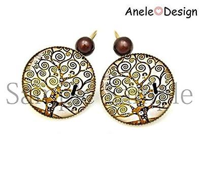 Boucles d'oreille Klimt Arbre de vie oiseau